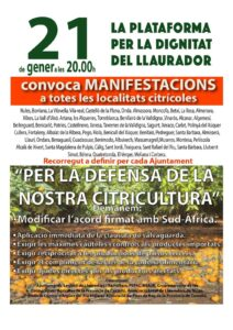 Manifestació en defensa de la Citricultura Valenciana